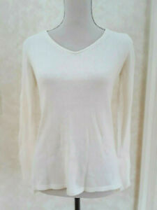 OLD NAVY V Neck Long sleeve sweater S Cream Solid Knit Top $10.50
