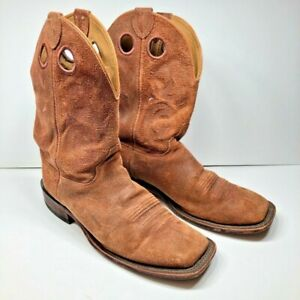 Justin Boots Mens Cowboy Western Brown Suede Pull On Square Toe USA 10.5 EE