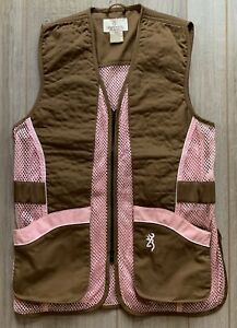 Browning For Her Womens Hunting Shooting Vest Size Medium Pink Brown Mesh