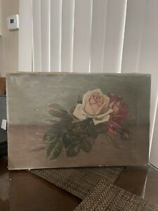 Antique Oil On Canvas Painting Of Roses $236.55