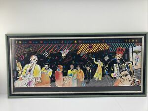Lg Framed Peter Max Signed And Numbered W COA Stamp New Orleans Jazz Heritage  $500.00