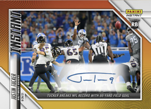 JUSTIN TUCKER SIGNED NFL RECORD 66 YARD FIELD GOAL PANINI INSTANT AUTO CARD #31 $199.99