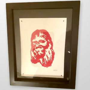 UNIQUE One Of A Kind STAR WARS Chewbacca Artist Signed Framed Lithograph $75.00