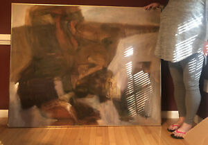 Bold Signed Vintage Abstract Expressionism Art Mid Century Modern Oil Painting $8000.00