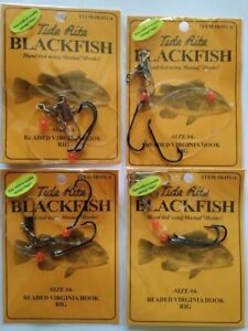 4 PACK BLACKFISH TAUTOG VIRGINIA MUSTAD HOOKS Size 6 FREE USA SHIPPING