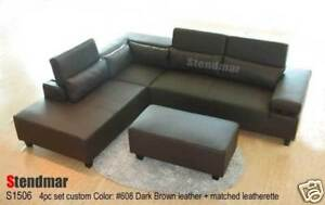 4PC MODERN EURO DESIGN LEATHER SECTIONAL SOFA S1506D
