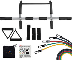 Door Gym Upper Body Iron Workout Bar for Pull up Chin up + 5 Resistance Bands