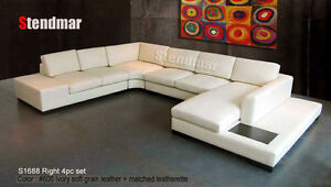 4PC NEW EURO DESIGN U SECTIONAL LEATHER SOFA S1688
