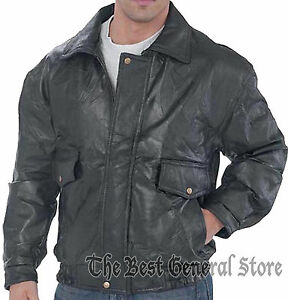 Mens Black Patchwork Leather Fully Lined Bomber Flight Coat Jacket Snap Wrists
