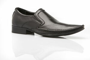 NEW ZASEL MENS DESIGN DRESS BLACK LEATHER SLIP ON WORK FORMAL CASUAL MEN'S SHOES