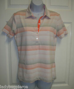 NIKE GOLF FIT DRY CORAL PINK STRIPE HENLEY POLO SHIRT S