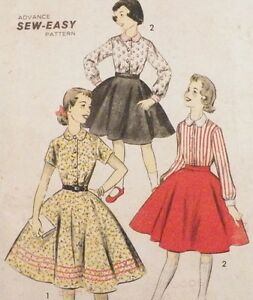 Girls Size 12.5 Circle Skirt Fitted Blouse Sewing Pattern 1950s Vintage Chub Deb