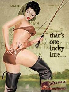 LUCKY LURE Print Ad Pinup Poster FISHING POLE Michigan PAW PAW BAIT CO. Pin Up
