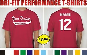 12 Custom Printed Dri-Fit Moisture Wicking Baseball Team T-Shirt