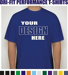 50 Custom Screen Printed Dri-Fit Moisture Wicking Dry T-Shirts - $7.00 each