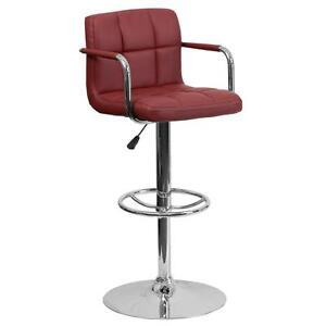 Burgundy Quilted Vinyl Adjustable Height Bar Stool with Arms & Chrome Base