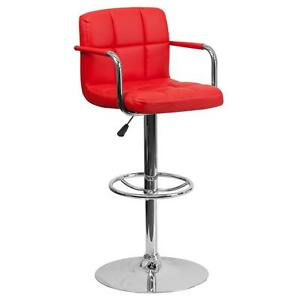 Red Quilted Vinyl Adjustable Height Bar Stool with Arms & Chrome Base