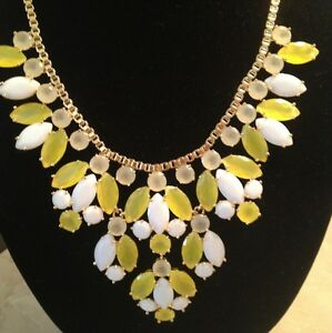 KATE SPADE MARQUEE BIB STATEMENT NECKLACE YELLOW WHITE AND GOLD NEW