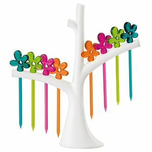 Koziol A PRIL Party Set with Tree Rack White Tree w Assorted Color Picks.