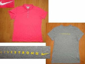 LOT of 2 NIKE GOLF PINK POLO SHIRT WOMENS XL & LIVESTRONG NIKE DRI-FIT SHIRT XL