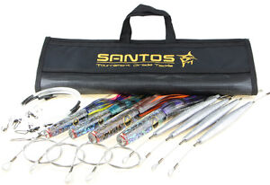 Santos Wahoo Big Game Trolling Lure Pack - Rigged - (MedHeavy Tackle 50-80 lb)