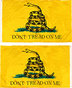 2x3 Gadsden Don't Tread On Me Yellow Snake Double Sided 2ply Flag 2'x3' Banner