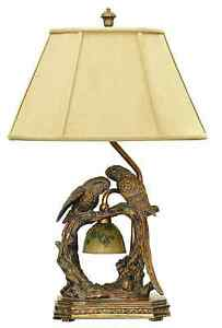 Twin Parrots Bird Table Lamp With Nite Light Unique Charming Bronze Finish  25