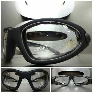 New MOTORCYCLE SPORT Riding Safety Clear Lens PADDED GLASSES GOGGLES Matte Black $14.99