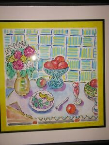 WAYNE ENSRUD ORIGINAL SIGNED WATERCOLOR PAINTING ON PANEL STILL LIFE WITH FRUIT