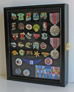 Small Wall Shadow Box Cabinet Display Case for Sport, Political Campaign pins