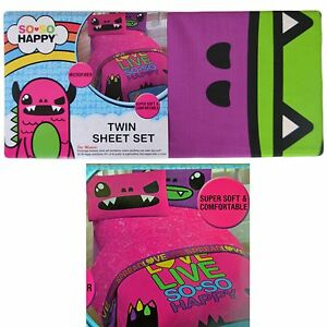 3-Pc So So Happy Bed Sheet Set: Twin Size, Flat, Fitted, Pillowcase