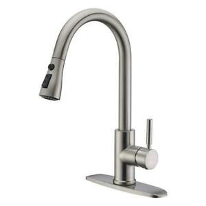 Single Handle Kitchen Sink Faucet Pull Out Spray Brushed Nickel With 10
