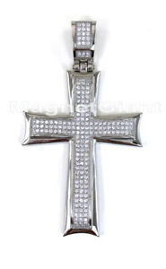Large Men stainless steel Cross Gold CZ crystals Pendant for necklace or chain