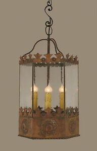 Solid Wrought Iron Lg Medieval lantern with clear seeded glass handmade amazing