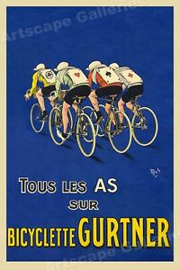 Bicyclette Gurtner 1918 Vintage French Bicycle Poster 20x30
