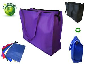 20quot; Extra Large Recycled Eco Friendly Grocery Shopping Tote Bag Book Bags Zipper