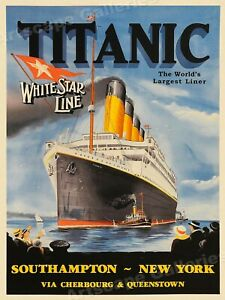 1912 Titanic World's Largest Liner White Star Line Vintage Travel Poster - 24x32