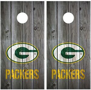 Football Distressed Wood Grey Cornhole Board Wraps Decals: CHOOSE YOUR TEAM
