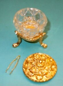 VINTAGE CRYSTAL amp; GOLD TONE SACCHARIN BOWL WITH GOLD TONGS $18.00