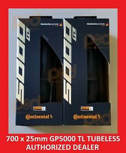 PAIR 2 Continental Grand Prix GP 5000 TL 700 c x 25 mm TUBELESS Road Bike Tires $139.99
