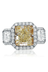 9.71 Ct. 18K White Gold Fancy Light Yellow Diamond Engagement Ring