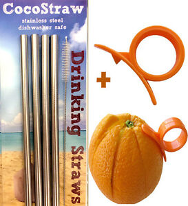 4 Wide Stainless Steel Drinking Straws Straight Smoothie 8.5