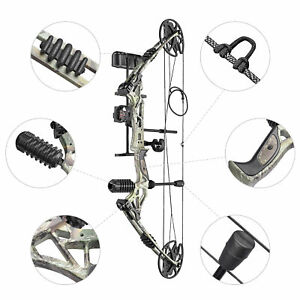 20 70lbs Pro Compound Right Hand Bow Kit Archery Arrow Target Hunting Camo Set $160.79