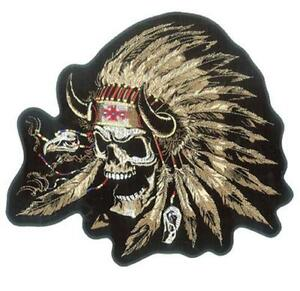 INDIAN SKULL NATIVE AMERICAN WARRIOR SKULL W/ HEADDRESS DELUXE EMBROIDERED PATCH