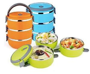 3 Compartment Stainless Steel Food Lunch Carrier Insulated Bento Lunch Box