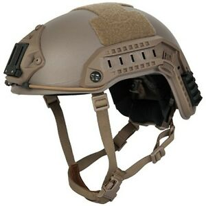 Lancer Tactical Maritime Airsoft Protective Padded ABS Helmet w Rails Tan MedL