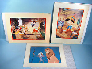 3 Disney Store Lithograph Prints wEnvs 1993-1995 Snow White Pinocchio Lion King