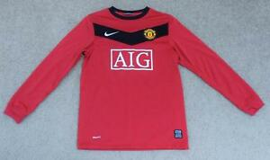 MANCHESTER UNITED~AIG~NIKE~Dri-Fit~Red Black White~Sz M(10-12)~LS~Kids~Shirt