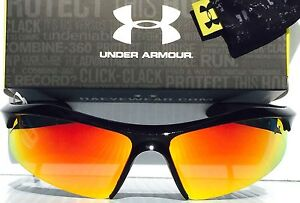 NEW* Under Armour ZONE BLACK Mirrored Orange Fire Lens 100% UVA $140 $AVE