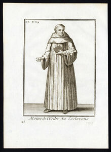 Antique Religious Print-MONK OF THE SLAVIC ORDER-EUROPE-Helyot-1792